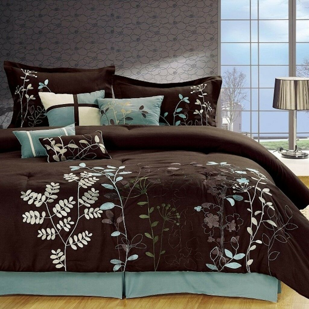 7 Pcs Embroiderosso Microfiber Comforter Set Marronee Sage Teal twin-cal king