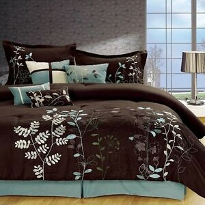 7 Pcs Embroidered Microfiber Comforter Set Brown Sage Teal Twin Cal King Ebay