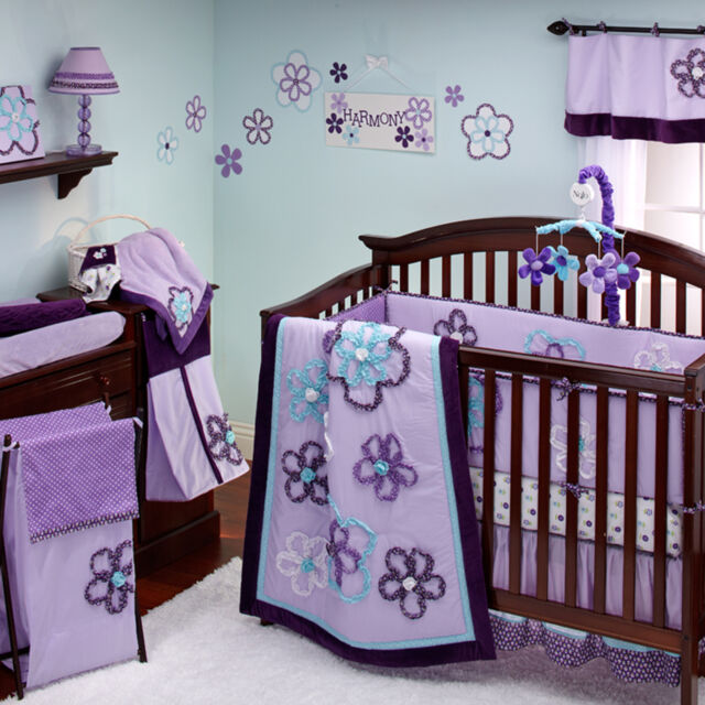 Baby Girl Crib Bedding Set By Nojo, Grey And Purple Crib Bedding