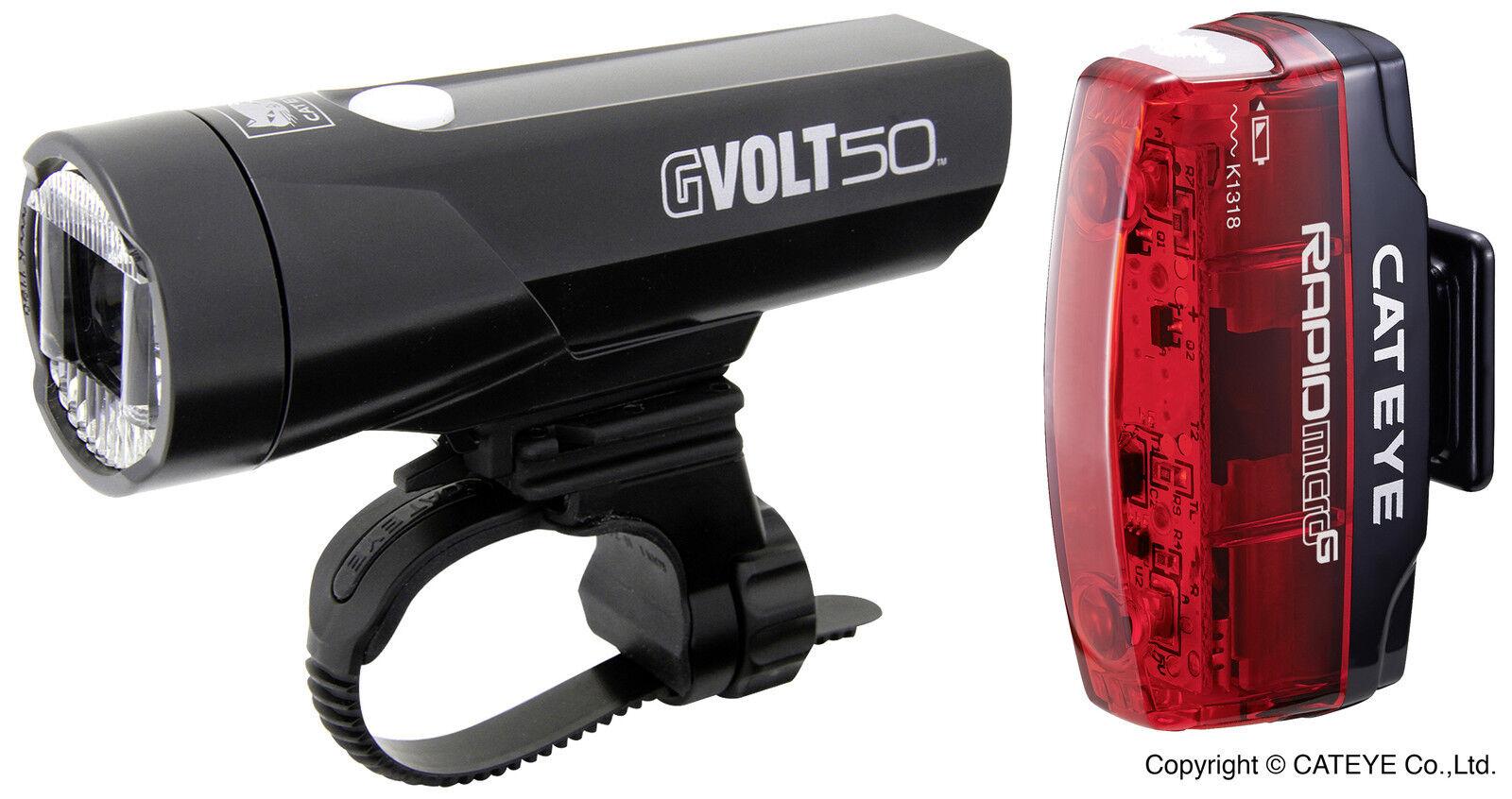 Cateye Beleuchtungskit GVolt 50 HL-EL550GRC + Rapid mit Micro G HL-EL620G mit Rapid Stvzo 5a5399