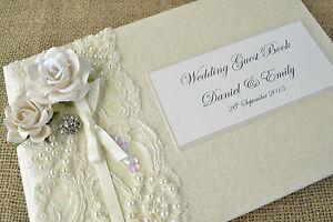 Elegant Vintage Stil Personalisiertes Hochzeits Gastebuch Rose