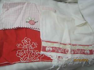 Vintage linen cotton kitchen hand towels red white applique