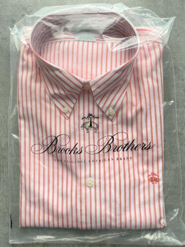 Brooks Brothers Milano Orange /& Blanc Bandes Chemise taille L nº 126