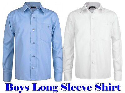 Boys School Uniform x1 Shirt Single Pack White Sky Blue Pocket Short Sleeve SST