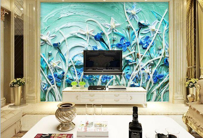 3D fiori blu 223 Parete Murale Carta da parati immagine sfondo muro stampa
