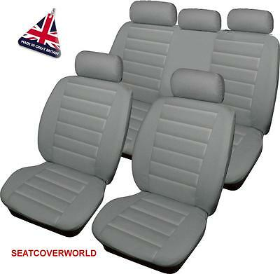 VW GREY LEATHER LOOK CAR SEAT COVERS FULL SET Amarok Beetle Bora Caddy