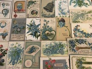 Pretty-Lot-of-25-FORGET-ME-NOTS-FLOWERS-Greeting-Postcards-in-Sleeves-s-571