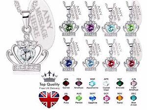 Personalizzato-DA-DONNA-CORONA-Pietra-Zodiacale-Collana-cristallo-inciso-gioielli-regalo-UK