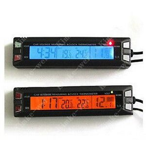 lcd thermometer spannungsmonitor f r auto innen aussen ebay. Black Bedroom Furniture Sets. Home Design Ideas