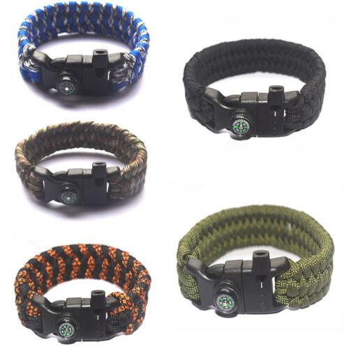 Outdoor Survival Paracord Bracelet Flint Fire Starter Whistle Compass Gear ST