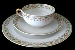 Antique-Limoges-Theodore-Haviland-France-TRIO-dessert-Plate-Cup-and-Saucer
