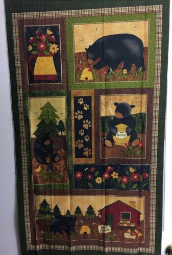 "PANEL 100/% Cotton Quilting Fabric 44/"" x 23/"" PRECUT BEAR PAWS"