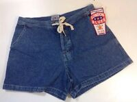 London Blues Jean Shorts Size 11 Blue Cotton Ivory Draw Tie Button Fly Pants