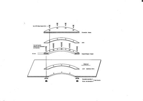 Trappe aluminium de réservoir très étanche type 2 ou nable diamètre 172.20 mm