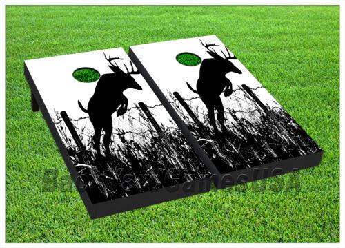 VINYL WRAPS Cornhole Boards DECALS Deer Black White Bag Toss Game Stickers 250