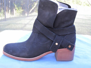 9b50a0e3868 Details about NIB UGG AUSTRALIA SIZE 7.5 ELORA ANKLE BOOTS BLACK SUEDE,  BELTED