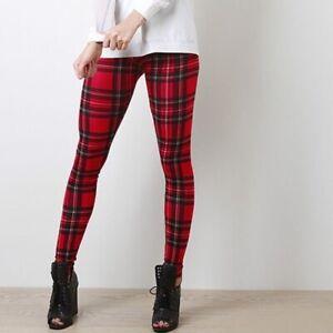 Women/'s Red Tartan Plaid festosa scozzese Super Morbido Hi Vita Elasticizzato Leggings.