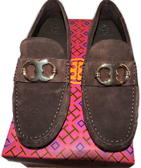 Tory Burch Gemini Gold Link Driver Shoe Brown Suede Loafers Moccasins Sz 7