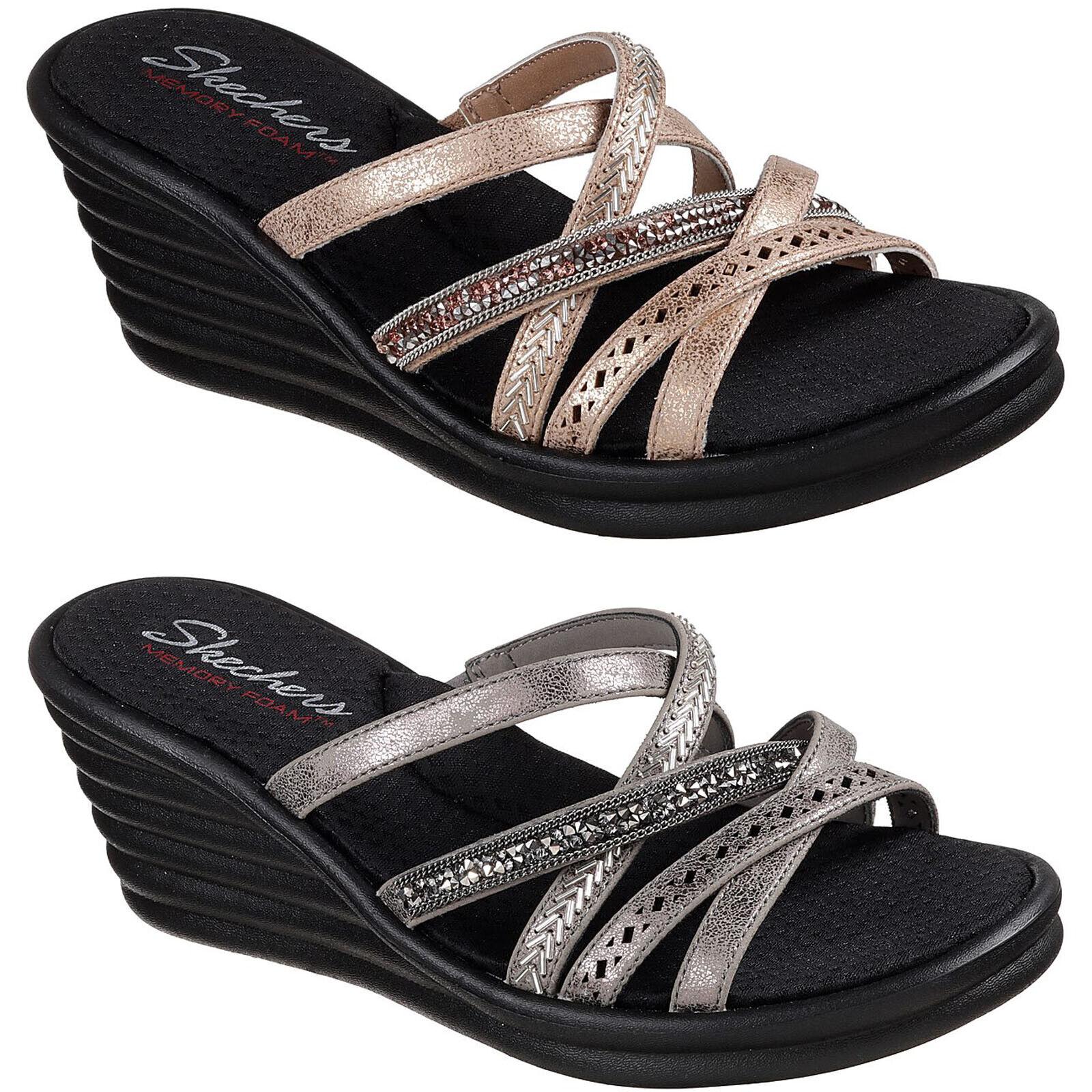 Skechers Rumblers Wave - New Lassie Sandals Womens Wedge Strap Summer shoes 31777