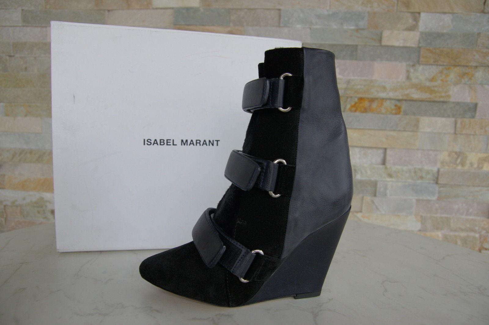 ISABEL MARANT Gr 38 Stiefeletten Booties Fell Stiefel schwarz blau neu