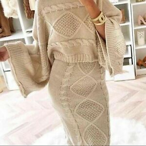 Womens-Ladies-Chunky-Cable-Knitted-Co-Ord-Flared-Two-Piece-Top-Skirt-Dress-Suit