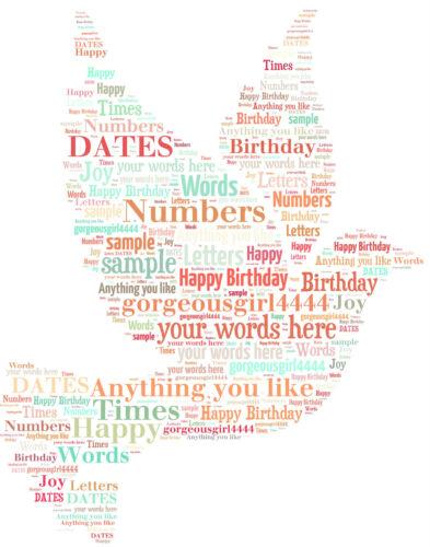 word art personalised gift present keepsake print dove birthday dad friend aunt