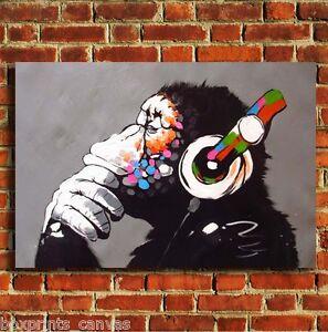 Image is loading cool monkey headphones animal canvas wall art print