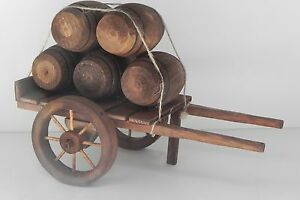 Wooden Hand Made Cart Wagon with Barrels Nativity Scene Presepio Pesebre Western
