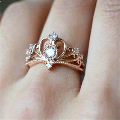 Elegant Rose Gold Filled Rings for Women Jewelry White Sapphire Size 6-10