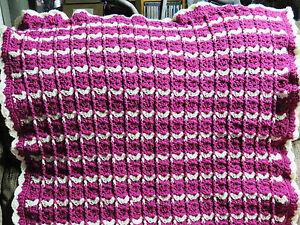 Handmade-Acrylic-Crochet-Blanket-Throw-Afghan-33x50-White-and-Mauve-Pink