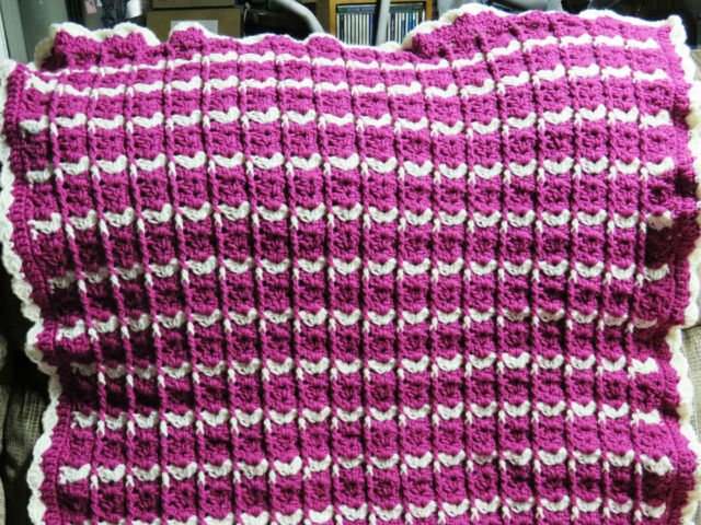 Handmade Acrylic Crochet Blanket Throw Afghan 33x50 - White and Mauve/Pink