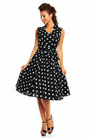 Ladies 1950's Retro Vintage Rockabilly Pin Up Swing Prom Polka Dot Collar Dress