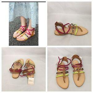 Zara-Multicolour-Strappy-Flat-Sandals-Size-UK-7