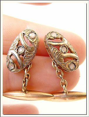 PRISTINE 1900's ART NOUVEAU ORNAMENTED GOLD FILLED CUFFLINKS w STONES ! SEE MORE
