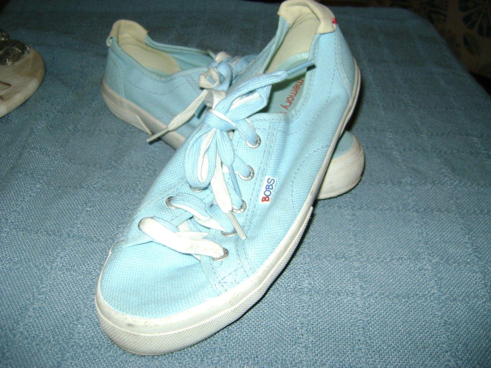 WOMEN SKECHERS 33616 BOBS LE CLUB BRENTWOOD LT blueE WHITE Memory Foam SHOES 9