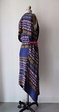 Marni Multi-Color Abstract Printed Uneven Hem Sleeveless Midi Dress Sz 46
