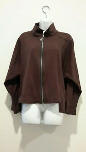 Breakfast-In-Tokyo-Brown-Zip-Up-Sweat-Shirt-Womens-Sz-3-Cotton-Blend-EUC