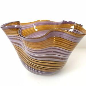 Orange-Purple-Swirl-Glass-Art-Bowl-Flower-Vase-Candy-Dish-Wave-Ruffled-Striped