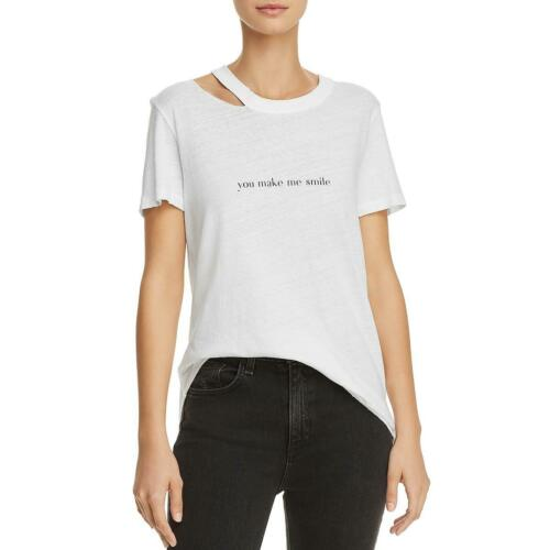 Philanthropy Womens You Make Me Smile Distressed Slogan Tee Top Shirt BHFO 6016