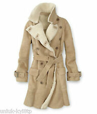 Women's TIMBERLAND SHEARLING SHEEPSKIN LAMBSKIN LEATHER COAT Jacket Fur £880