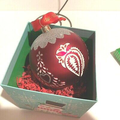 Glass Red Glitter Ball Christmas Ornament Handpainted Collectible Tree Decor