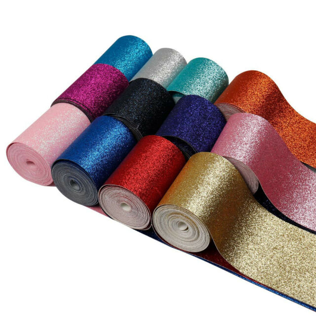 2Yards/roll 3''(75mm) Glitter Shiny Leather Plain Ribbon Fabric DIY Materials