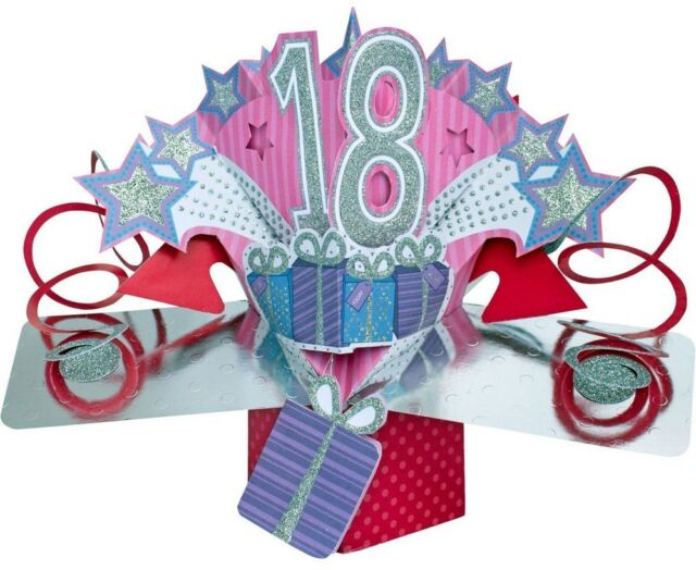 3d Pop Up Card Happy 18th Birthday Girl Celebration 18 Greeting