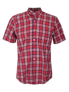 0c5a981cf49 Men s Steven Alan Plaid Button Up Down Shirt Red Short Sleeve USA ...