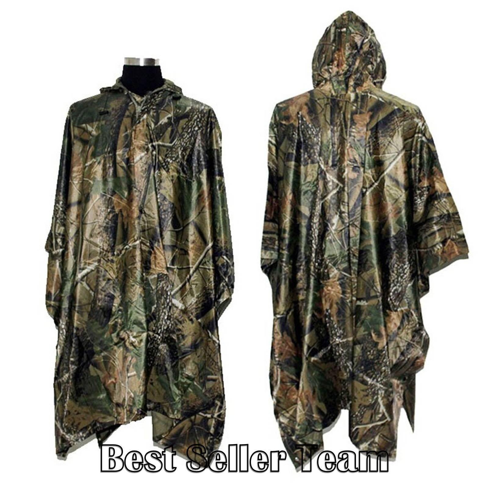 Rain Poncho Military Camouflage Waterproof Sheet Sleeping Bag Camping Hunting