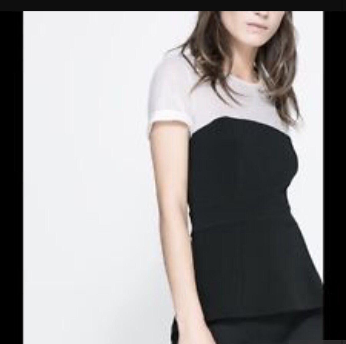 Zara Nero E Bianco Peplo Peplo Peplo Top 38ace9