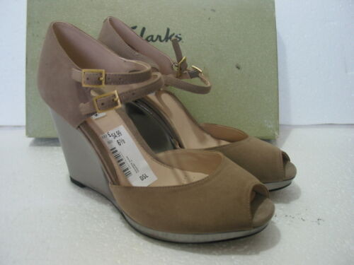 NEW CLARKS SHOOTING COMET SOFT SUEDE WEDGE SANDALS SIZES 7.5