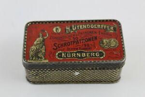 Antigua Caja de Hojalata H. UTENDOERFFER Cartuchos, Finales del siglo XIX.