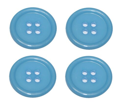 0129 Bouton Boutons 20 mm 4 trous bleu clair 4 pièces