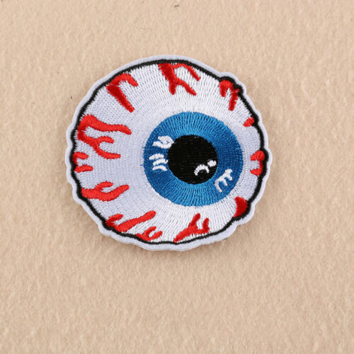 JW/_ HK 2Pcs Punk Eyeball Embroidered Applique Sequins Iron On Patch Badge Cra